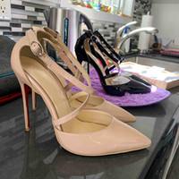8cm gelin topukları toptan satış-Kutu Lüks Tasarımcı Kadınlar Ayakkabı Yüksek Topuklar Gelin Düğün Ayakkabı 8cm ile 10cm 12cm Çıplak Siyah Elbise Ayakkabı Deri Sivri Burun Yüksek topuk Pompalar