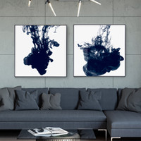 Wholesale deco art paints resale online - Abstract China ink concretization Canvas Painting Posters Print Modern Wall Art Blue Pictures For Living Room Bedroom home deco