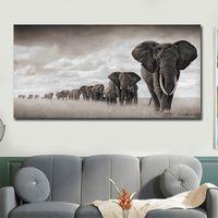 ingrosso grandi manifesti decorativi murali-1 Pz Pittura moderna su tela Poster grandi Immagini di arte della parete Elefanti Poster decorativi animali e stampe per soggiorno Senza cornice