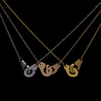 Wholesale tungsten pendants for men for sale - Group buy Real Sterling Silver Handcuff Menottes Pendant Necklace For Men Women France Dinh Van Jewelry