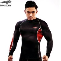 Wholesale bicycle tee resale online - brand Men s Compression Tights T Shirt Anti UV Bicycle Fitness tees Long Sleeve Moisture Wicking Quick drying