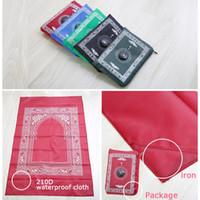 alfombras impermeables al por mayor-60 * 100cm impermeable portable del bolsillo oración musulmana manta manta Mat con el compás en la bolsa 5 colores al aire libre Gadgets ZZA1140
