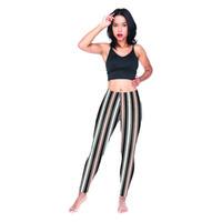 siyah şerit tozluk toptan satış-Kızlar Tayt Moda Bej Siyah Çizgili 3D Grafik Tam Baskılı Sıska Kalem Pantolon Kadın Egzersiz Pantolon Bayan Koşucu Jeggings (Y54592)
