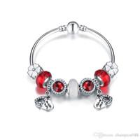 bracelets style pandora achat en gros de-2017 Pandora Style Charme Bracelets 925 Sterling En Argent Coeur Pendentif En Verre Charmes Européennes Perles DanglePour Charme Bracelets Bracelets DIY Jewe
