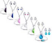Wholesale crystal bracelets designs for sale - Group buy Elegant luxury design women earring necklaces bracelet new fashion plated colorful crystal jewelry sets women gift party decorations jewel