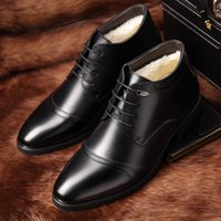 Wholesale handmade dress shoes for men resale online - New Handmade Men Leather Winter Boots High Quality Warm Snow Men Boots Ankle For Business Dress Shoes