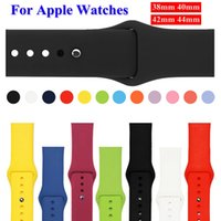 Wholesale silicone bracelet accessories online - Fashion sport silicone rubber bands straps for apple watch bracelet straps rubber bands MM MM colorful soft wrist watchbands Accessories