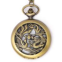 dragão phoenix presentes venda por atacado-Dragão chinês Phoenix Sorte Charme Colar Oco Dragão Phoenix Projeto Relógio de Bolso Colar Legal Relógio Presente Das Crianças