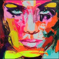 cuchillo de paleta moderno al por mayor-Francoise Nielly Cuchillo de paleta Impresión Inicio Obras de arte Retrato moderno Pintura al óleo hecha a mano sobre lienzo Textura cóncava y convexa Cara198