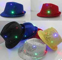 chapéu do fedora do partido da criança venda por atacado-Crianças adultas Flashing Light Up Led Fedora Trilby Lantejoula Unisex Fancy Dress Dance Party Chapéu 30 pcs