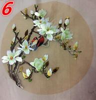 ingrosso opere di ricamo cinese-Doppio lato Cinese Suzhou Ricamo a mano Funziona rotondo 20cm Decorativo fai da te usato per la borsa Abbigliamento mano Fan dipinti Home Decor ornamenti ecc