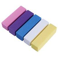 bloco de lixamento de buffer rosa venda por atacado-Forma rosa Prego Arquivo Buffers Para Gel UV Branco Prego Arquivo Buffer Bloco Polonês Manicure Pedicure Lixar Nail Art Ferramenta