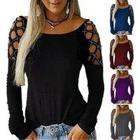 camisa suelta larga para mujer al por mayor-Mujeres hueco de manga larga camiseta floja diamantes de imitación de diseño resorte del otoño tapas ocasionales