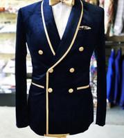blazers trajes para hombres al por mayor-Real Photo Double-Breasted Shawl Solapa Nvay Velvet Broom Tuxedos Men Party Blazer Prom trajes de negocios (chaqueta + pantalones + pajarita) K23