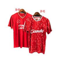 camiseta de fútbol 85 al por mayor-85 86 89 91 campeones de la camiseta de fútbol de Estambul final Camisetas retro de Alonso Smicer gerrard RUSH BARNES