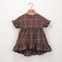 ingrosso manica plaid marrone-Everweekend Cute Kids Girls Plaid Ruffles Fly Sleeve Party Dress Colore bianco marrone Estate dolce bambini Abiti BY0855