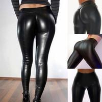 siyah deri gerdirme tozlukları toptan satış-Hirigin Unif 2019 Yeni Siyah PU Legging Parlak Bling Faux Patent Deri Streç Elastik Tayt Islak Bak PVC