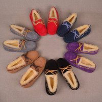 Wholesale suede moccasins women for sale - Group buy Brand Women Men Shoes Suede Moccasins Winter Boots Australia UG Fur Loafers Doug Boat Boot Trendy Ladies Flats Driving Shoes ColorC101402