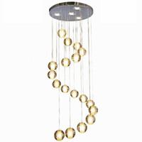 12 leichte kristallkronleuchter großhandel-LED Kristallglas Kugel Anhänger Meteor Regen Deckenleuchte Meteoric Shower Stair Bar Droplight Kronleuchter Beleuchtung AC110-240V