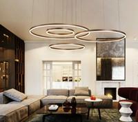 altın sarkıt ışık toptan satış-Modern Yaratıcı Daire Halka LED Kolye Işık Kahverengi / Altın Renk Avize Oturma Odası Yemek Odası Yatak Odası Salon