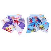 Wholesale hair ribbons bows for kids resale online - baby shark Hairpins Inch Hair Bows Hairpins print Shark baby ribbon With Clip Hair Accessories Hairclips For Kids KKA7061