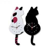 uhr nacht led-design großhandel-Kreative Uhrausgangsdekoration der wedelnden Schwanzkatzen-Wanduhr-Acrylkarikatur