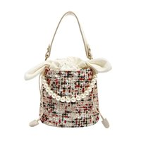 Wholesale tote bag materials for sale - Group buy Fashion Pearl Lady Round Material Crossbody Bucket Bag Lady Leather Handbag Shoulder Messenger Bag