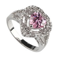 Wholesale brass ring price for sale - Group buy SHUNXUNZE Rock Vintage Engagement rings jewelry for Noble Generous women Surprise price Pink Cubic Zirconia Rhodium plated R557 size