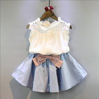 Wholesale baby girl clothing wholesale online - Girls Summer Suit Hollowed Shirt Dress with Beads Bow Baby Girls Outfits Girls Two piece Clothing Sets T
