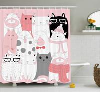 weiße tuchschals großhandel-Niedliche Cartoon-Kätzchen-lustige lächelnde Glas-Schals kritzeln humorvolles Entwurfs-Stoff-Gewebe-Badezimmer-Dekor-Rosa-Weiß