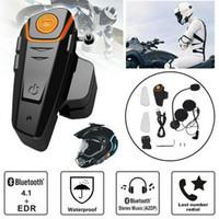 motosikletler için bluetooth kask kulaklık toptan satış-Su geçirmez 1000 m BT-S2 Motosiklet Kaskı Bluetooth Kulaklık Motosiklet Açık