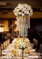 Wholesale candle beads resale online - Gold Silver Wedding Centerpiece Acrylic Bead Strands cm Tall Acrylic Crystal Flower Stand For Wedding Table Decor
