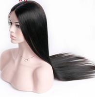 insan danteli peruk ipek üst yapışkan toptan satış-Hiçbir arapsaçı ham tutkalsız işlenmemiş bakire remy İnsan saç doğal renk ipeksi düz tam ön dantel kız için ipek üst peruk