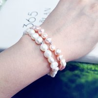Wholesale vintage bracelets women resale online - RENESSA Pearl Bracelet Natural Freshwater Pearl Jewelry Classic Vintage Elastic Rope Shaped Beads Bracelet For Women Gift