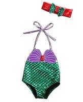 biquini de niños lindos al por mayor-Traje de baño para niños de una pieza para niños traje de baño para niñas sirena traje de baño bikinis lindos de mayo sombreros arco bebé natación conjunto de ropa