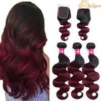 Wholesale 99j human hair body wave resale online - ombre body wave bundles with closure burgundy peruvian hair weave bundles with closure b j ombre human hair bundles with closure