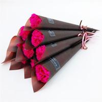 savons de la fête des mères achat en gros de-Nouveau Unique Carnation Tige Artificielle Rose Parfumé Savon De Bain Savon Rose Savon Bouquet De Fleurs Pour Le Mariage Saint Valentin Fête Des Mères Enseignant Jour cadeau