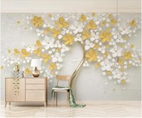 Wholesale yellow flower wallpaper for sale - Group buy 3d wallpaper on the wall custom photo New fresh yellow relief flowers home decor living room d wall murals wallpaper for walls d