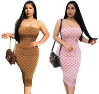 ingrosso abiti formali del progettista-Abiti vesdidi per le donne Guccy vestito formale estate senza spalline Designer G lettere guaina vestito aderente