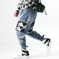 baggy baumwollhose für männer groihandel-2019 Fashions Männer Jeans Tarnung Tasche Cargo Pants Hip Hop Haremshose Baggy Cotton Denim Jeans Joggers Männerkleidung