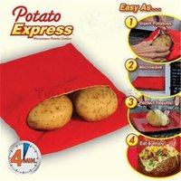 Wholesale rice boxes resale online - Potato Express Bag Microwave Baking Potatoes Cooking Bag Washable Baked Potatoes Rice Pocket Easy To Cook Kitchen Gadgets With Retail Box