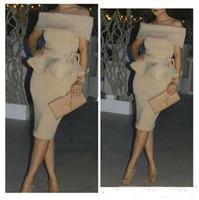 elegante nackte kleider prom großhandel-Elegante Champagner Cocktailkleider Party Wear Off Shoulder Dubai Arabisch Frauen Nude Short Abendkleider Mittlerer Osten Formale Abendkleid