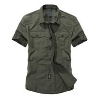 erkekler rahat kıyafetler toptan satış-Gündelik Elbise Gömlek Erkekler Slim Fit Askeri Stil Ordu Yeşil Erkek Boys Için Haki Erkek Kısa Kollu Pamuk Tasarımcı Nefes Marka Y19071701