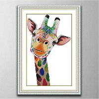 Wholesale giraffe home decor resale online - Giraffe home decor paintings Handmade Cross Stitch Embroidery Needlework sets counted print on canvas DMC CT CT