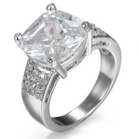 4.9ct Full White Topaz 925 Silver Ring Vintage Jewelry Wedding Party Size 5-10
