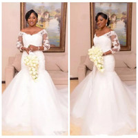 Wholesale african sweetheart wedding dresses styles resale online - 2020 Charming Sweetheart Lace Appliques Slim Mermaid Wedding Dresses Modest Vintage Bridal Gowns Customized Robe De Mariee African Style