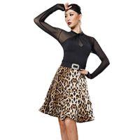 ingrosso cime di costume da ballo nero-Costume da ballo latino sottile Costume da ballo nero Top Gonna stampa leopardo Cha Cha Samba Abbigliamento per dividere il tango Pratica DC1345