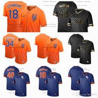 camo beyzbol formaları toptan satış-Erkek Kadın Çocuk New York Formalar Mets # 18 Çilek 48 deGROM 34 Syndergaard Camo Moda Yıldız Beyzbol Flexbase Siyah altın Jersey