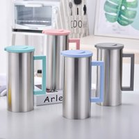 Wholesale cold steel camp resale online - 1 L Stainless Steel Water Jug Cold and Hot Water Bottle With Handle Korean Juice Drinks Cups Coffee Mug GGA2112