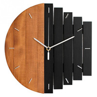 Wholesale bar clocks home resale online - European Style Vintage Color Block Wooden Wall Clock Industrial Style Living Room Wall Clock for Home Hotel Cafe Bar Decoration